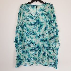 NWT Lane Bryant sheer palm print top/cover up